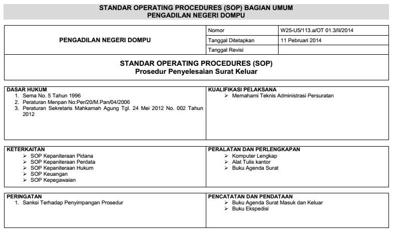 Prosedur Administrasi Surat Keluar Pengadilan Negeri Dompu