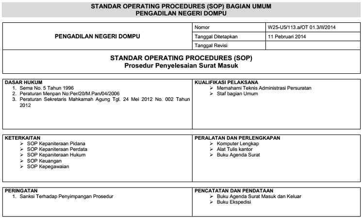 Prosedur Administrasi Surat Masuk Pengadilan Negeri Dompu